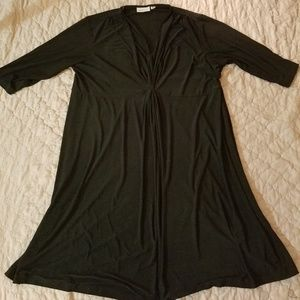 Avenue Black Dress with 3/4 Sleeve Below Knee